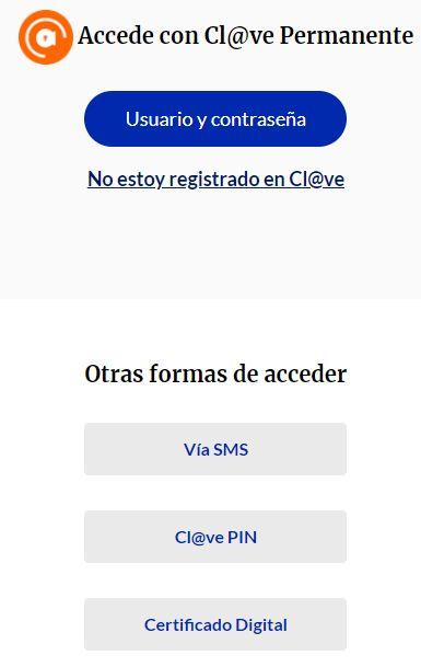 Página web para loguearte en tu perfil de la Seguridad Social, el cual te muestra distintos métodos para iniciar sesión.