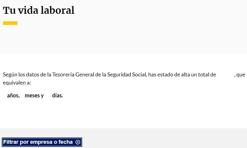 Perfil de la Seguridad Social de un usuario, el cual muestra un resumen de su vida laboral.