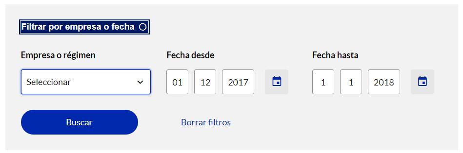 """Filtros """"Fecha desde"""" y """"Fecha hasta"""" del perfil de la Seguridad Social de un usuario, en donde se observa que se ha escrito una fecha en cada filtro."""