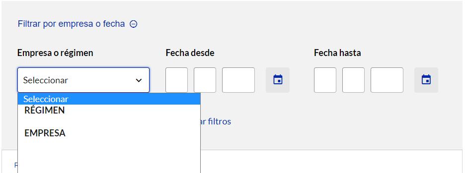 """Menú desplegable del filtro """"Empresa o régimen"""" del perfil de la Seguridad Social de un usuario."""