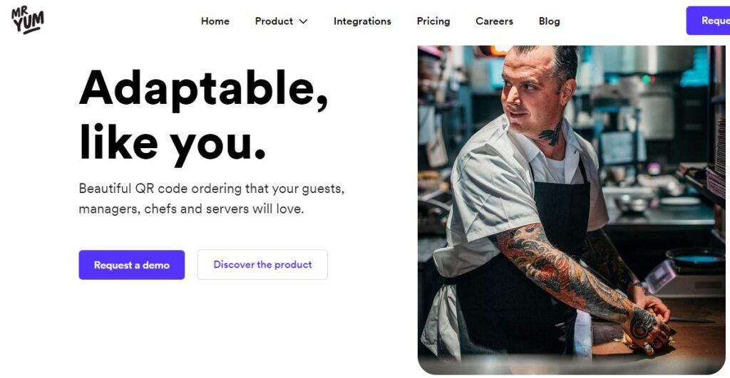 Sitio web de Mr Yum, una aplicación para generar códigos QR y menús digitales para restaurantes.