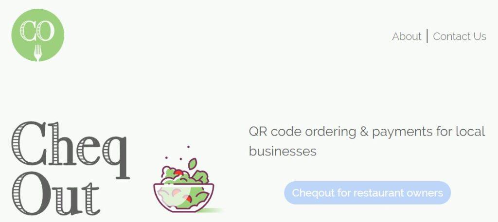 Página web de Cheqout, otra app para generar códigos QR para restaurantes.