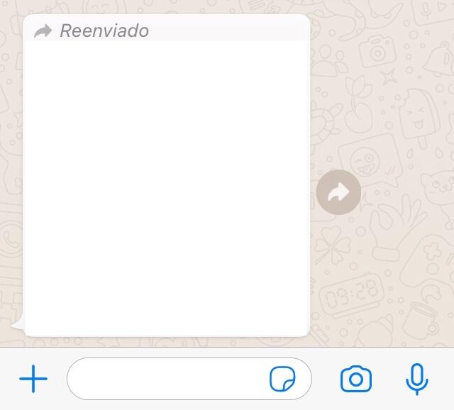"""Chat de WhatsApp mostrando una foto con un aviso que dice """"Reenviado""""."""