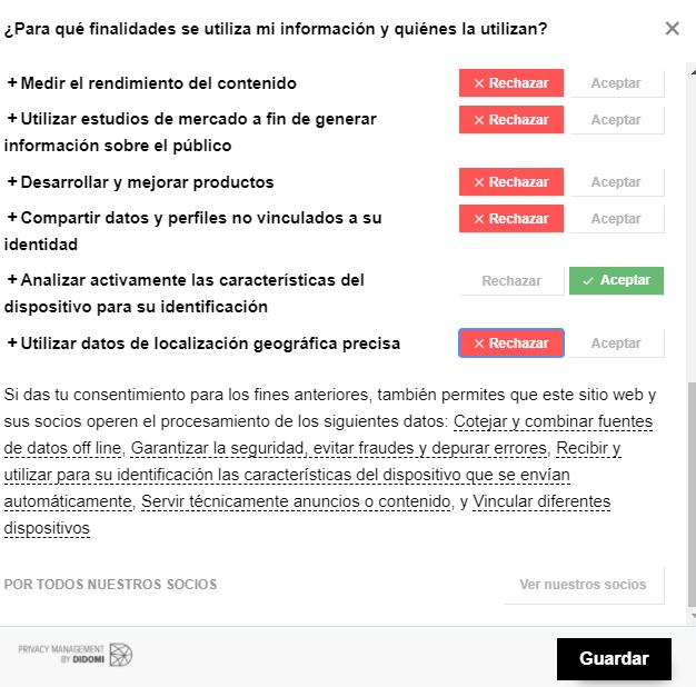 Banner de consentimiento de cookies del periódico El País, el cual le da al usuario la opción de rechazar la mayoría de sus cookies.