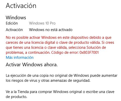 Mensaje de Windows 10 que te dice que estás usando una versión de Windows 10 sin activar, es decir, sin clave.