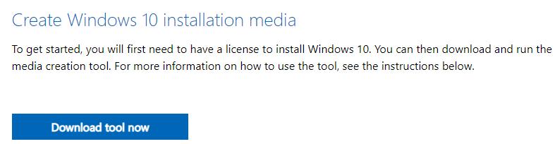 """Página web de Microsoft para descargar Windows 10, el cual muestra el apartado """"Create Windows 10 installation media"""" y el botón """"Download tool now""""."""