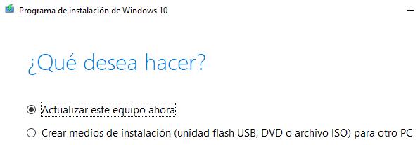 """Instalador de Windows 10 mostrando la opción """"Actualizar este equipo ahora""""."""